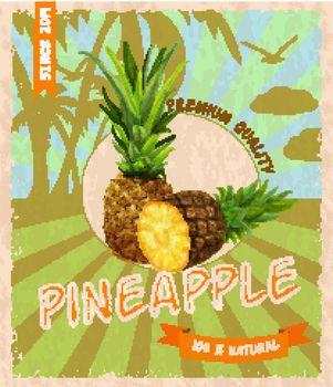 Pineapple retro poster