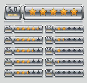 Rating stars set