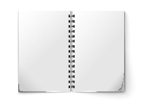 Realistic notepad open