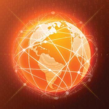 Network globe concept orange