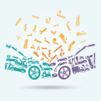Car crash icons concept