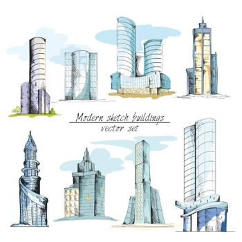Modern sketch buildings colored
