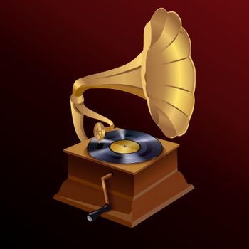 Music gramophone print