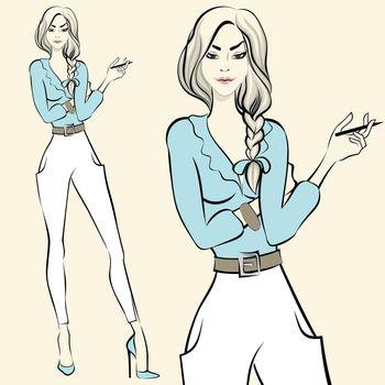 Fashion standing woman emotions