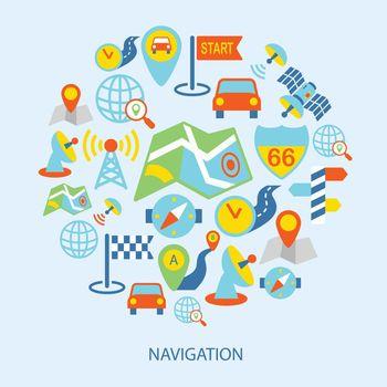 Mobile navigation icons flat