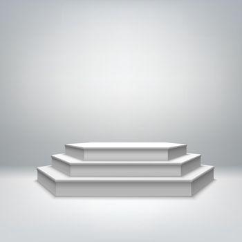 Blank white stage podium