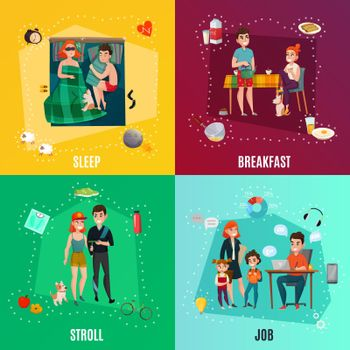 Couple In Daily Routine Concept