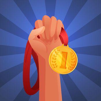 Hand holding medal