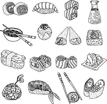 Asia food sushi icons set