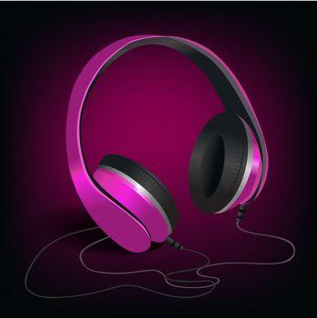 Pink headphones on purple background