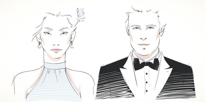 Young fashionable couple portraits