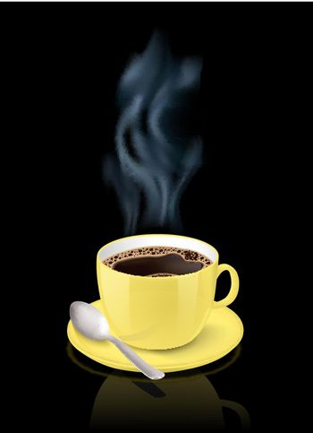 Yellow cup filled with espresso