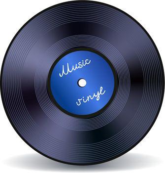 Retro vinyl music record emblem