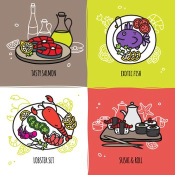 Seafood Design Concept Set