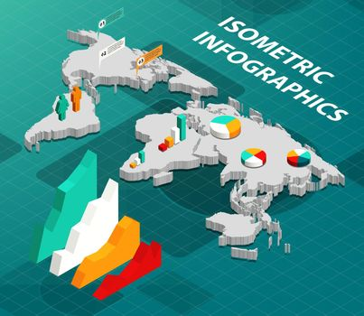 Isometric World Map with Business Infographics