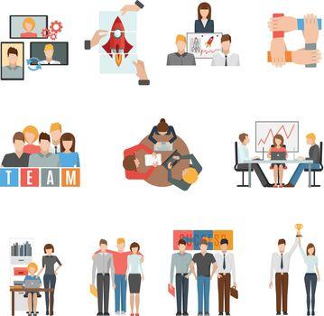 Teamwork flat icons set