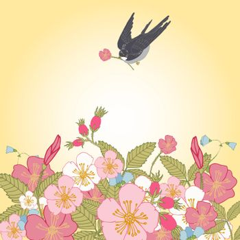 Vintage flowers background with bird