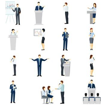 Public speaking people flat icons set