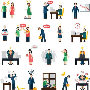 Stress depression mental health icons set