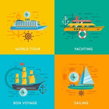 Nautical concept 4 flat icons square