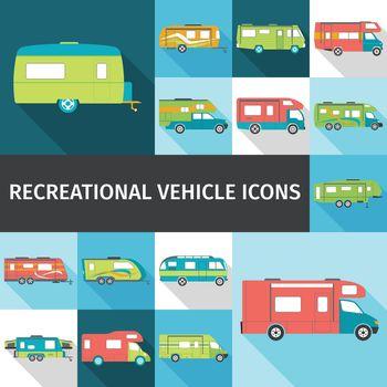 Recreational Vehicle Flat Icons