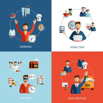Businessman daily routine concept flat icons