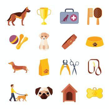 Pets dog flat icons set