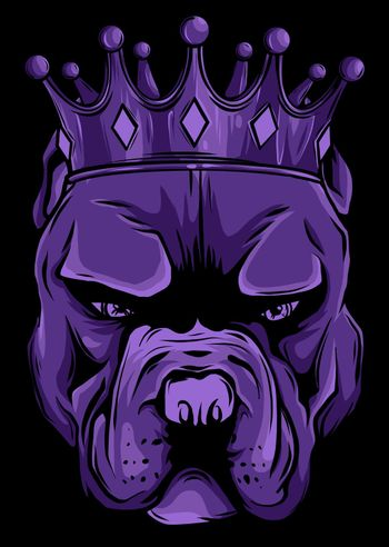 Vector illustration Angry pitbull head with crown