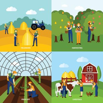 Farming 4 flat icons square poster