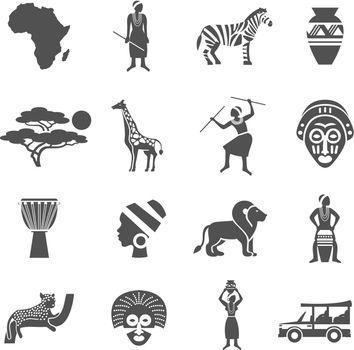Africa Black White Icons Set
