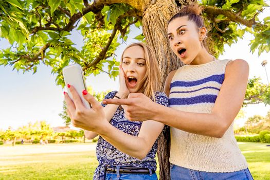 Two girls making surprised faces spreading mouth and eyes pointing and looking smartphone spending time in city park nature. Young women having fun with social network due to wi-fi mobile technology