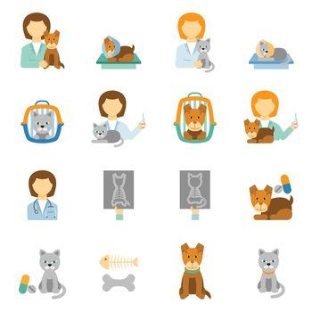 Veterinary clinic practice flat icons set