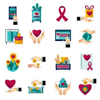 Charity donation flat icons set