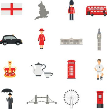 English Culture Flat Icons Collections