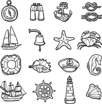 Nautical Black White Icons Set