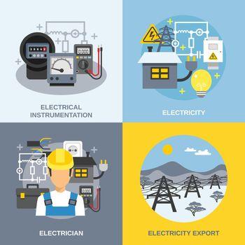 Electricity Concept Icons Set