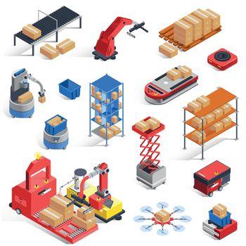 Warehouse Robots Icon Set