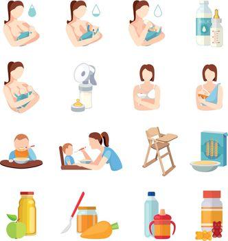 Baby Feeding Flat Icons Set
