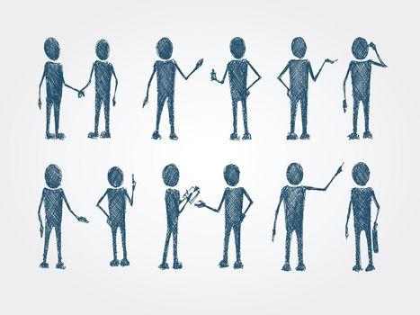 Set of doodle busines people collaboration