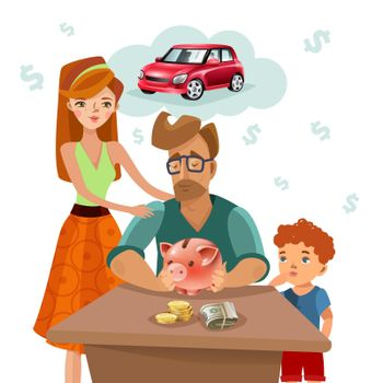 Family Budget Finance Plan Flat Poster