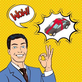 Car As Gift Comic Illustration