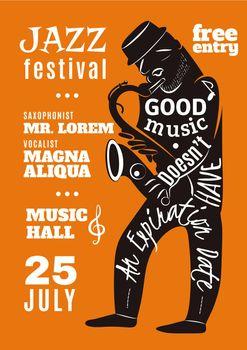 Jazz Music Festival Lettering Silhouette Poster