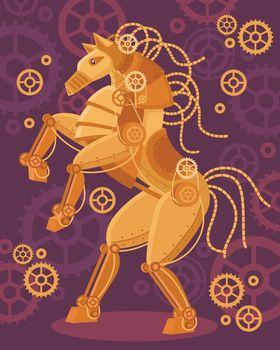 Steampunk Golden Horse Poster