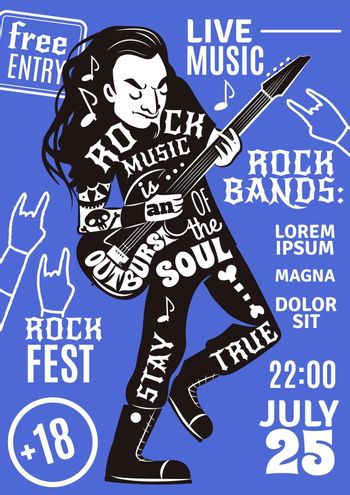 music lettering silhouette poster rock
