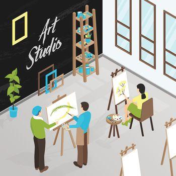 Art Studio Isometric Illustration