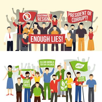 Political And Ecological Demonstrations Horizontal Banners