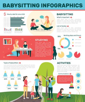 Active Babysitting Flat Infographics