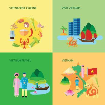 Vietnamese Culture 4 Flat Icons Square