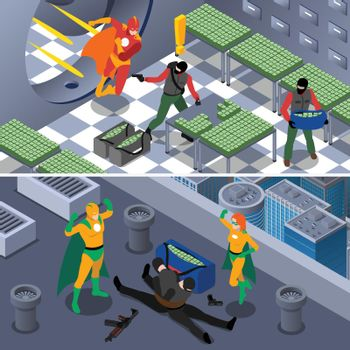 Superhero Isometric Banners Set