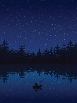 Fishing At Night Illustration